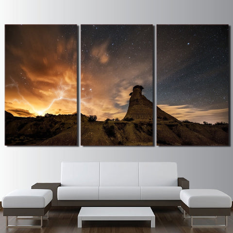 3 Panel Starry Sky Mountains and Lighting Modern Decor Canvas Wall Art HD Print
