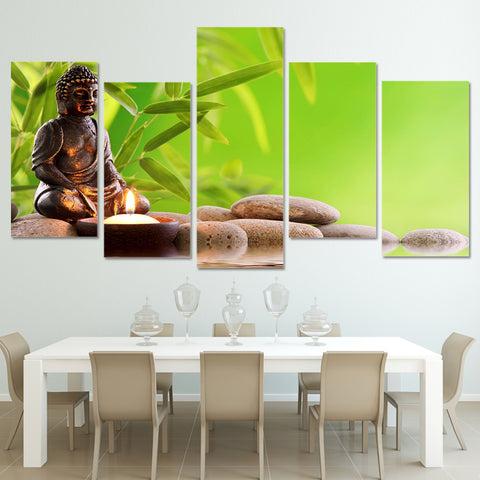 5 Panel Buddha And Bamboo Landscape Modern Decor Canvas Wall Art HD Print