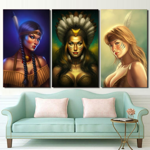 3 Panel Native American Indian Women Modern Décor Wall Art Canvas HD Print