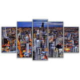 Canvas Wall Art Pictures Frame Home Decor Living Room 5 Piece Busy Night In Hong Kong Painting HD Printed City Landscape Poster