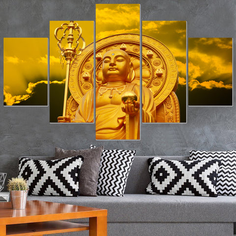 5 Panel Gold Buddha Modern Decor Canvas Wall Art HD Print