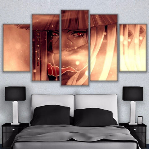Modular Prints Wall Art Pictures Frame 5 Pieces Naruto Sharingan Painting Canvas Anime Character Poster Living Room Home Decor