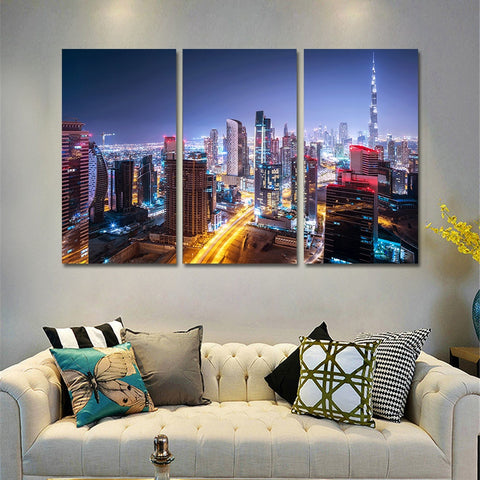 3 Panel Dubai Burj Khalifa Tower by Night Modern Decor Canvas Wall Art HD Print