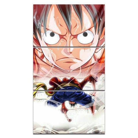 3 Pieces Anime Monkey D. Luffy Modern Canvas Wall Art HD Print