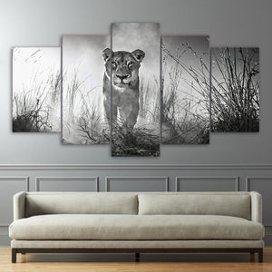 HD Prints Posters Framework Canvas For Living Room Home Decor 5 Pieces Wild Animal Lion Paintings Black White Pictures Wall Art