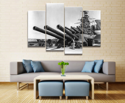 4 Panel Framed Battleship USS California Modern Décor Canvas Wall Art HD Print