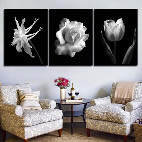 Nordic Style Black And White Rose Flower Modern Decor Canvas Wall Art HD Print