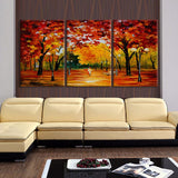 3 Pc Street Scene In The Park Modern Decor Canvas Wall Art HD Print