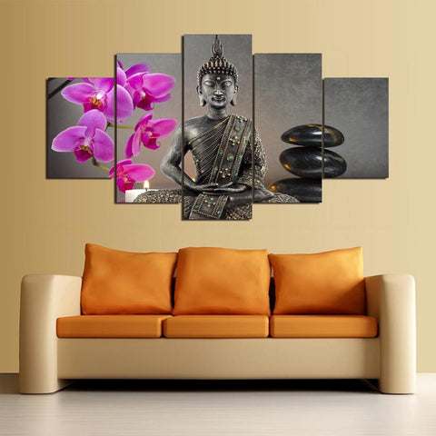 5 Panel Buddha & Flower Modern Decor Canvas Wall Art HD Print