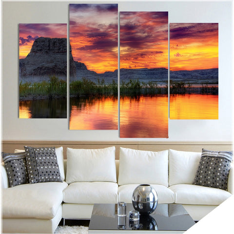 4 Panel Arizona Lake Rock Modern Decor Canvas Wall Art HD Print