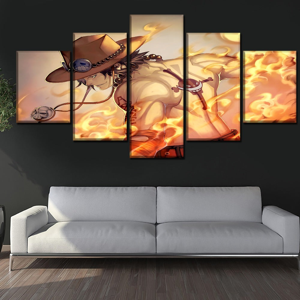 5 Pieces Anime One Piece Cloud Fire Modern Decor Canvas Wall Art HD Print
