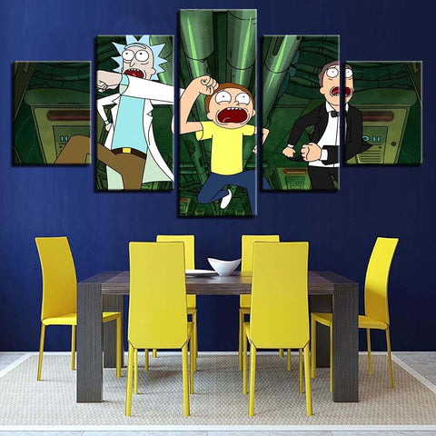 5 Panel Rick And Morty Painting Modern Decor Canvas Wall Art HD Print