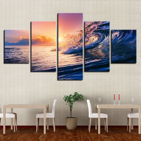 Canvas Wall Art Pictures HD Prints Living Room Decor 5 Pieces Sunset Sea Waves Seascape Paintings Framework Ocean Beach Posters