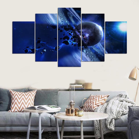 5 Panel Saturn Modern Decor Canvas Wall Art HD Print