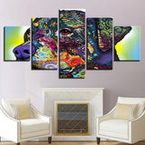 Modern Canvas Prints Poster Wall Art Modular Pictures 5 Pieces Rainbow Color Abstract Animal Dog Paintings Home Decor Framework