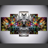 Canvas Pictures Home Decor 5 Pieces Colorful Evil Vibrant Skull Paintings Modular HD Prints Abstract Poster Wall Art Framework
