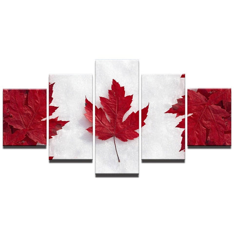 5 Panel Framed Canadian Flag Modern Décor Canvas Wall Art HD Print