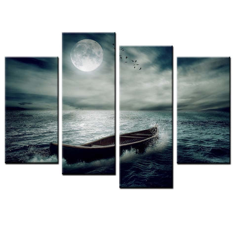 4 Panel Canoe in the Night Sea Modern Decor Canvas Wall Art HD Print