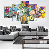 5 Panel Cartoon Rick And Morty Drink Modern Decor Canvas Wall Art HD Print