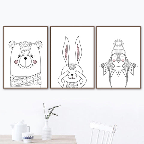 Nordic Style Cartoon Fox Panda Raccoon Modern Kids Room Canvas Wall Art HD Print