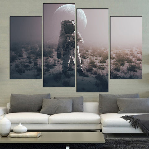 4 Panel Astronaut Walking on a Planet Modern Decor Canvas Wall Art HD Print