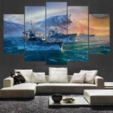 5 Panel World of Warships German Ships Modern Décor Wall Art Canvas HD Print