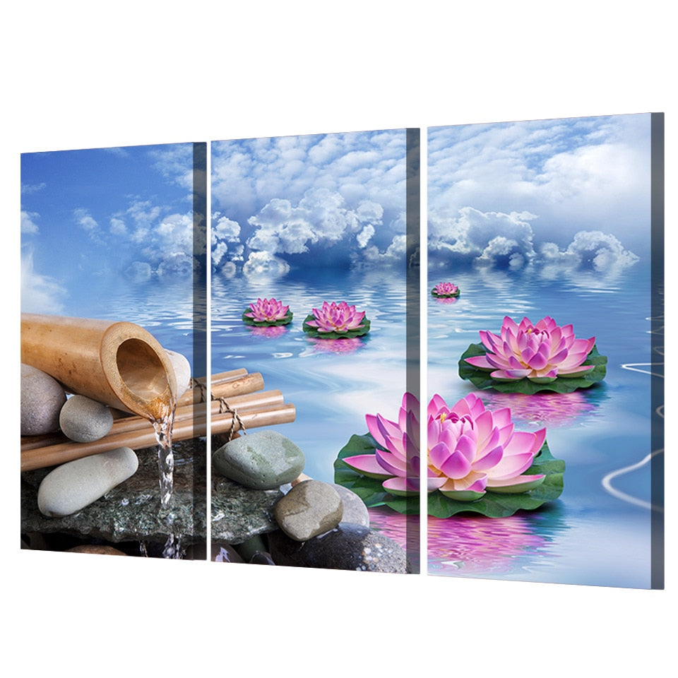 3 Piece Blue Sky Pink Lotus Running Water Modern Canvas