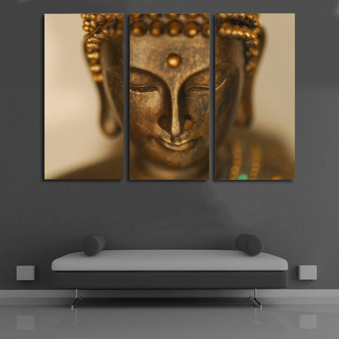 3 Panel Golden Statue Of Buddha Modern Decor Canvas Wall Art HD Print