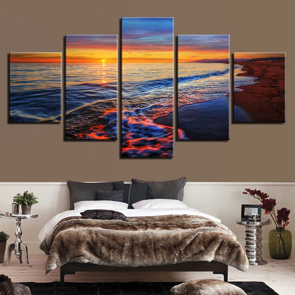 Canvas Wall Art Pictures Framework Home Decor 5 Pieces Sunset Sea Waves Beach Seascape Paintings Living Room HD Prints Posters