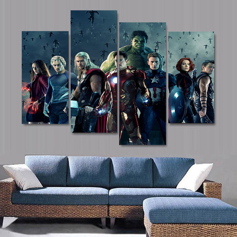 4 Panel ScarletWitch-Quicksilver-Thor-Ironman-Hulk-Captain America-Black Widow-Hawkeye-The Avengers Modern Decor Canvas Wall Art HD Print