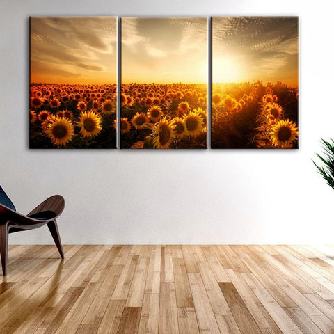 3 Panel Flowers Sea Of Sunflower Canvas Print Modern Wall Art Abstract Painting Charming Scenery