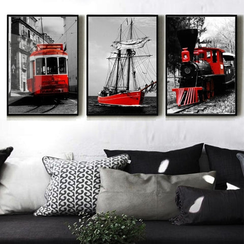 3 Piece Tram Train Sailing Modern Canvas Wall Art HD Print