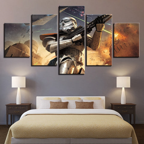 5 Panel Star Wars Tatooine Stormtrooper Modern Decor Canvas Wall Art HD Print