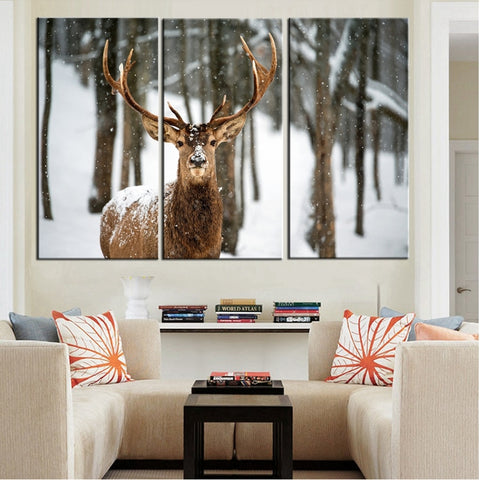 High Quality Canvas Modular Framework Wall Art Painting 3 Panel Animal Deer HD Print Popular Picture For Living Room Deco Poster