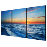 3 Piece Beach Evening Sunset Seascape Modern Decor Canvas Wall Art HD Print