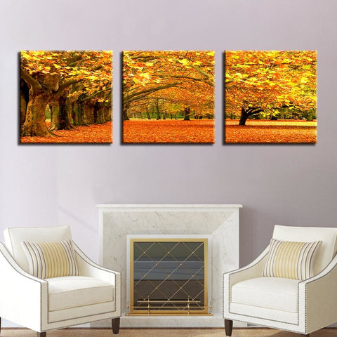 Canvas Posters Home Decor Wall Art Pictures 3 Pieces Autumn Yellow Leaves Trees Landscape Paintings For Living Room Framework
