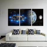 Print Canvas Painting 3 Panel Spacecraft And Planet Landscape Vintage Art Canvas Painting Wall Picture For Living Room Decor