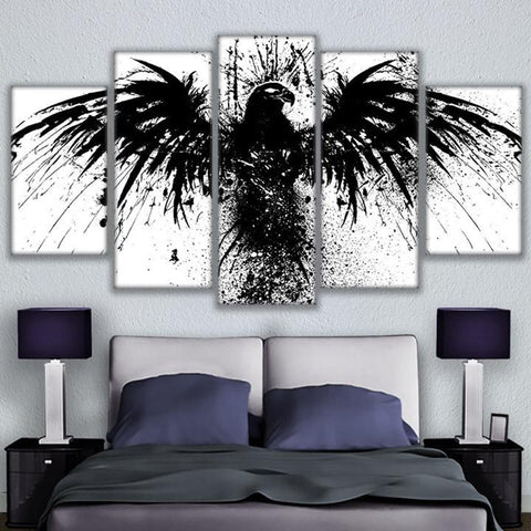 5 Panel Abstract Black Eagle Modern Decor Canvas Wall Art HD Print