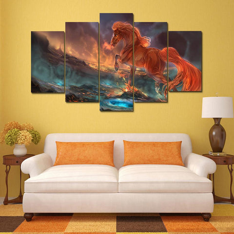 Home Decor Canvas Pictures Framework HD Prints Movie Poster 5 Pieces Fantasy Running Red Horse Paintings Living Room Wall Art