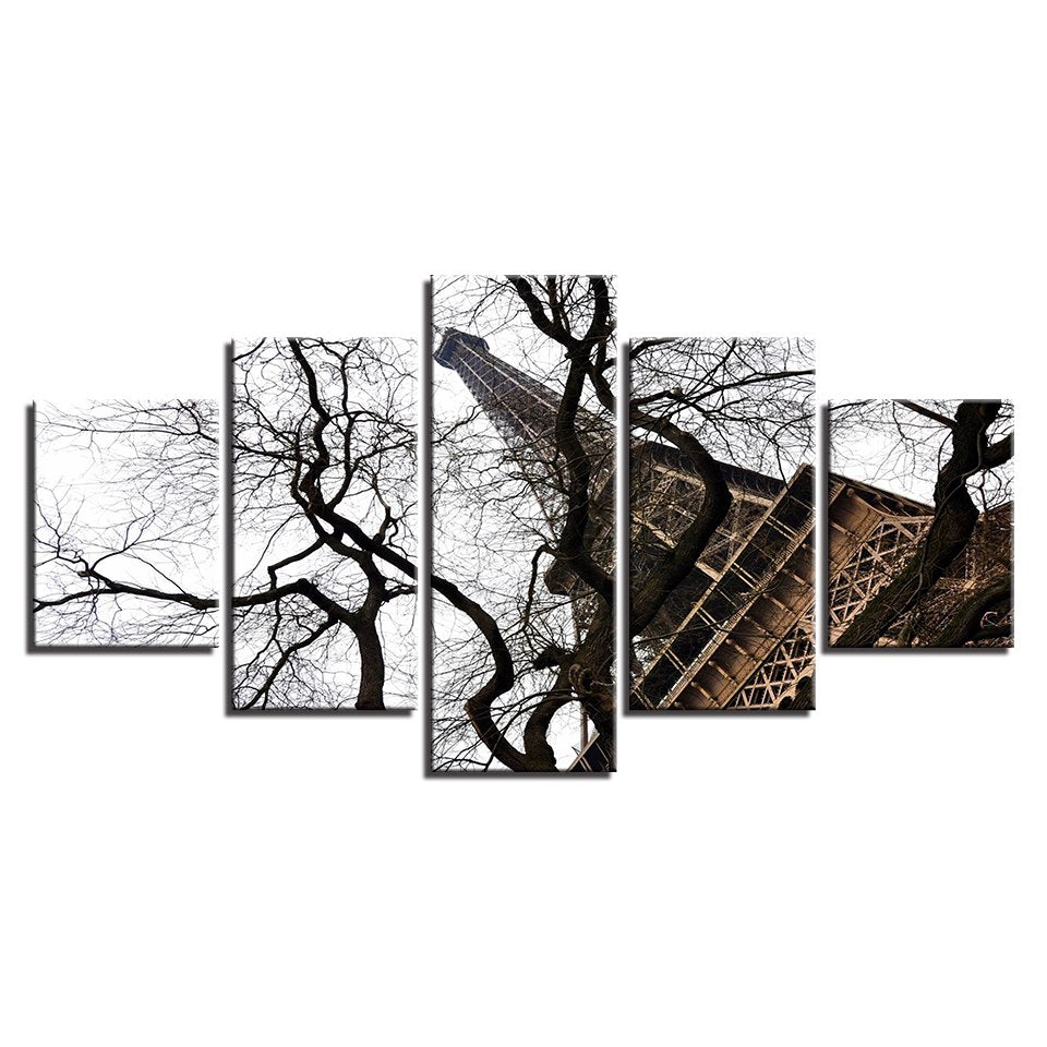 Canvas Wall Art Pictures Home Decor For Living Room 5 Pieces Paris Eiffel Tower Trees Landscape Painting HD Printed Poster Frame