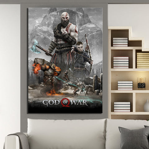 God of War 4 Game Poster Modern Décor Wall Art Canvas HD Print