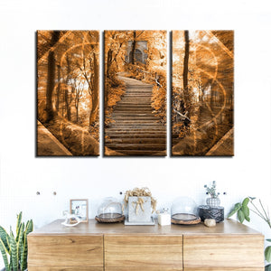 3 Panel Abstract Staircase In Forest Modern Decor Canvas Wall Art HD Print