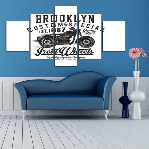 5 Panel Brooklyn Motorcycles Modern Décor Wall Art Canvas HD Print