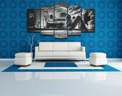 5 Panel B&W Beetle in Workshop Modern Décor Wall Art Canvas HD Print