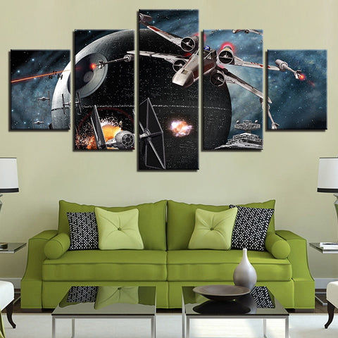 5 Panel Star Wars Death Star Battle Scene Modern Decor Canvas Wall Art HD Print