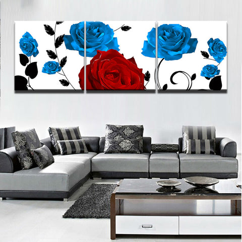 3 Panel Framed Beautiful Blue & Red Roses Modern Decor Canvas Wall Art HD Print