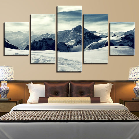 5 Panel Snow Capped Mountain Modern Decor Canvas Wall Art HD Print