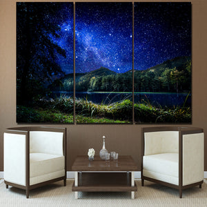 3 Pieces Blue Starry Sky Mountains River Nightscape Modern Decor Canvas Wall Art HD Print