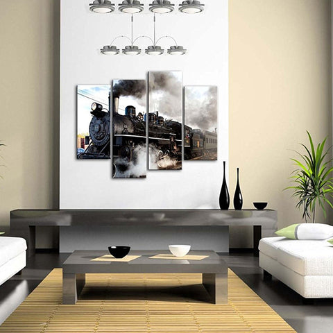 4 Panel Steam Train With Gray Modern Canvas Wall Art