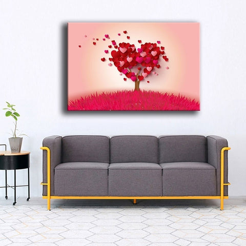 1 Piece Red Love Heart Tree Abstract Romantic Modern Decor Canvas Wall Art HD Print